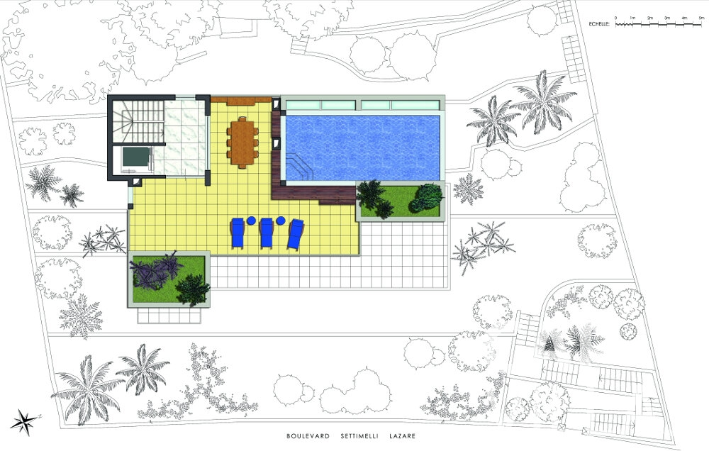 holiday house for sale villefranche floorplan aerial view with pool