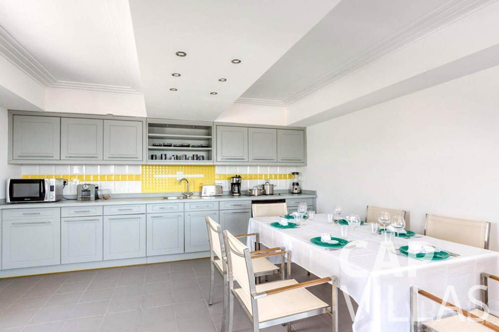 Villa Bianca for rent cap dantibes bianca kitchen