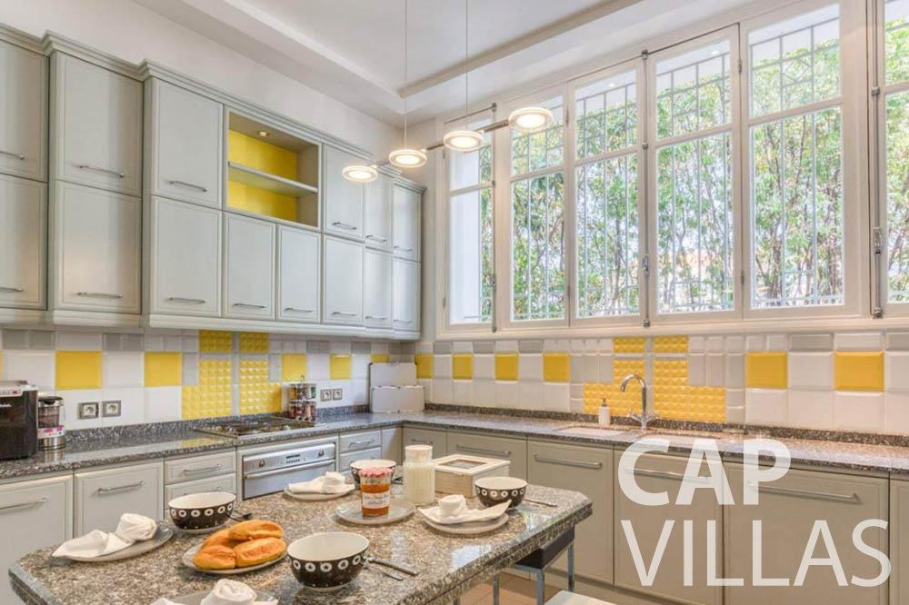 Villa Bianca for rent cap dantibes bianca main kitchen