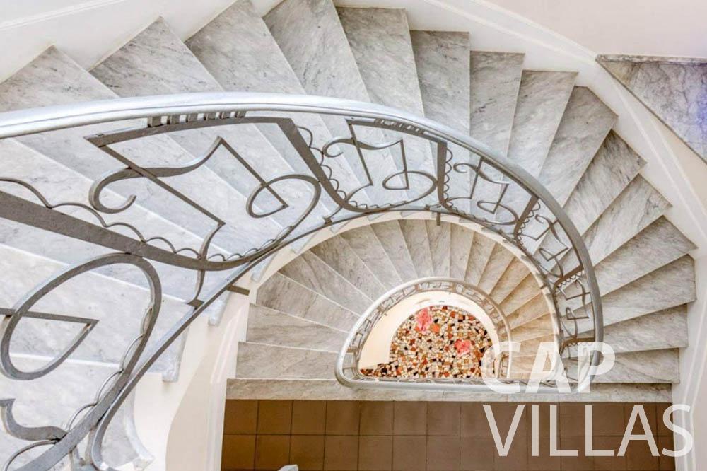 Villa Bianca for rent cap dantibes bianca stairsview