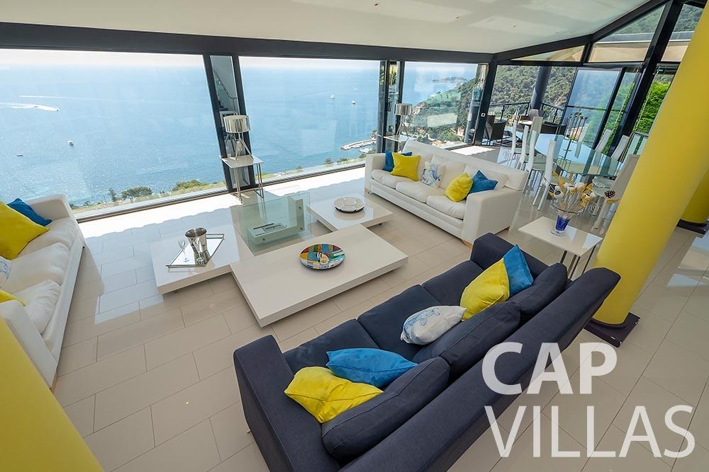 rent Villa Grazioli eze sur mer grazioli living area sea view