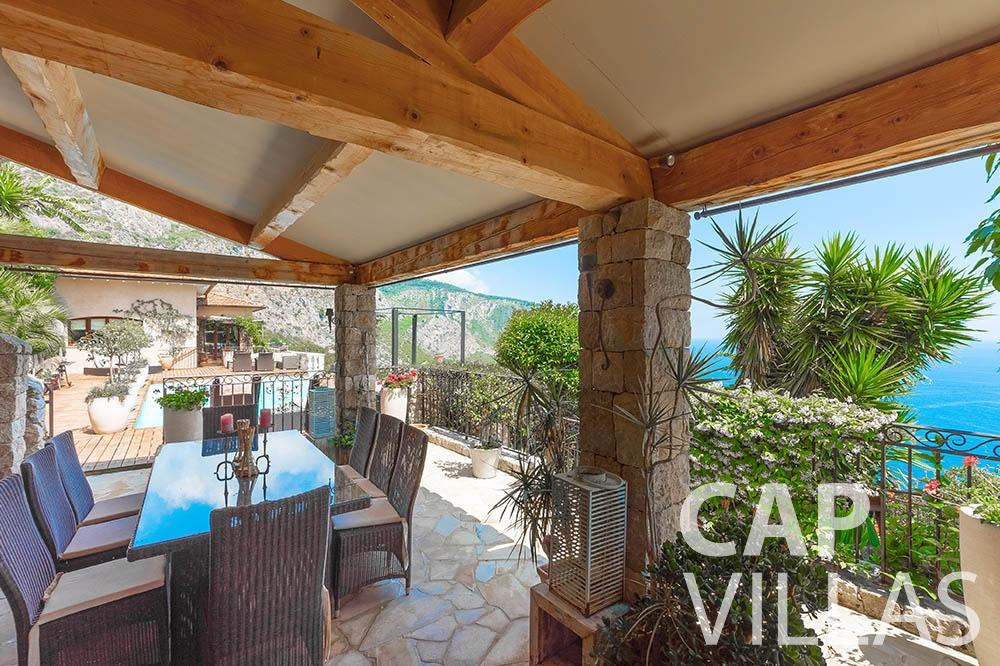 Villa Le Roc for rent eze le roc covered terrace