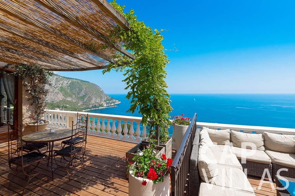 Villa Le Roc for rent eze le roc terrace sea view