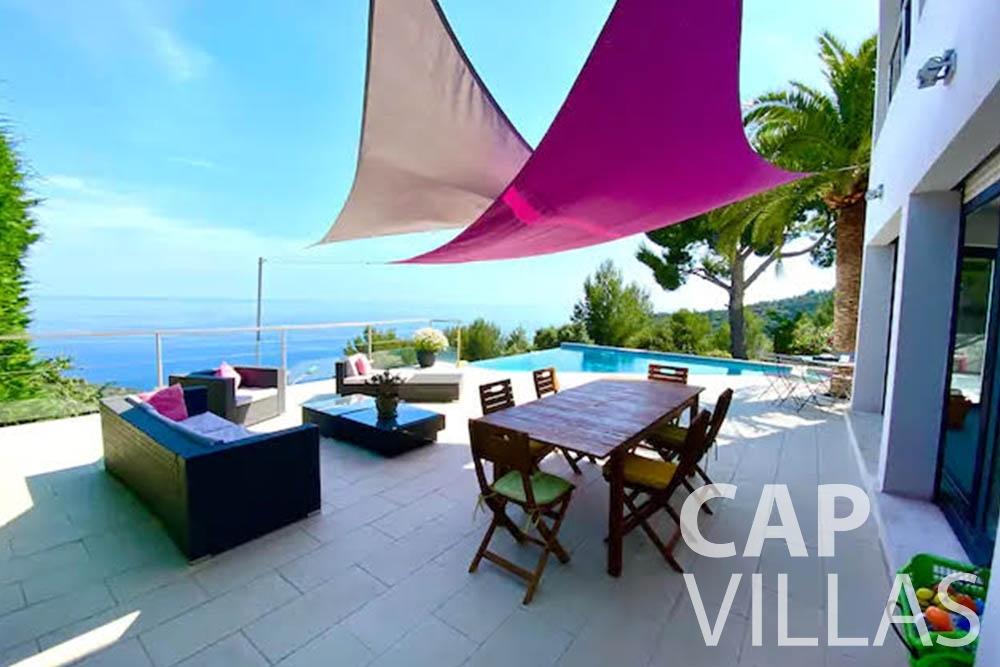 rent Villa Romina romina eze terrace sea view