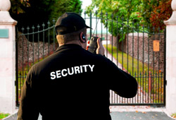security man dressed in black and wearing a hat standing in front of a gate of a luxury villa with security services